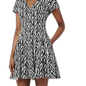 Reiss Myrtle Zebra Fit Flare Party Cocktail Dress